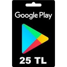 Google Play hediye kartı - 25 TL